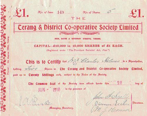 1910 June 28 Share Issue Certificate